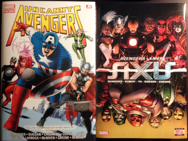 Most conveniently collected in Uncanny Avengers Omnibus and Axis HC